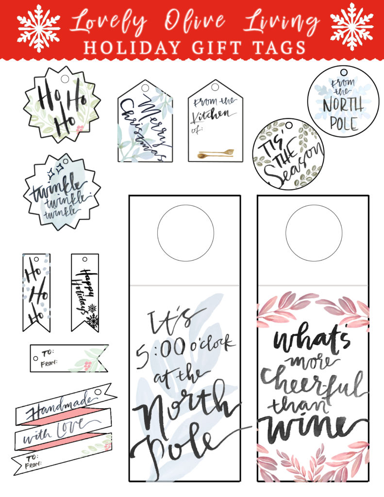 Hand lettered holidays holiday gift tag free printables lovely for the first installment of hand lettered holidays i wanted to put together a bunch of fun watercolor and hand lettered gift tags for your gift wrapping negle Choice Image